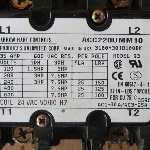 Arrow Hart ACC220UMM10 Magnetic Contactor 25A 2P 24V Coil - New