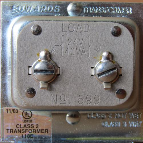 Edwards 599 Transformer 120VAC Primary, 24V Secondary  40VA - New