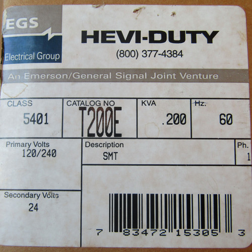 EGS Hevi-Duty T200E .200 KVA 120/240 to 24V Industrial Control Transformer - New