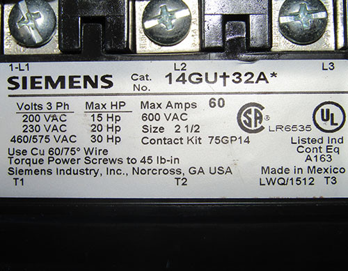 Siemens 14GU+32A* Size 2-1/2 Contactor 60A 600VAC 120V Coil - Used