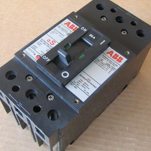 ABB SR-638 3 Pole 20 Amp 480VAC Type ES Circuit Breaker - Used