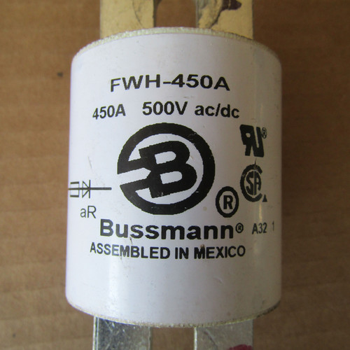 Buss FWH-450A 450 Amp 500V AC/DC Semiconductor Fuse - Used