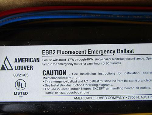 American Louver EBB2 PE100007 Fluorescent Emergency Ballast 120V - New