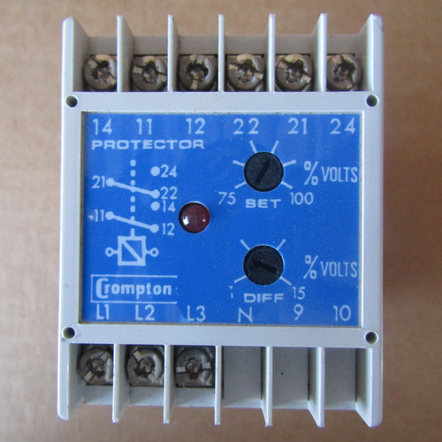 Crompton 252-PVKU-SEBX Trip Protector Relay Output 60Hz 480V Input 24VDC - Used