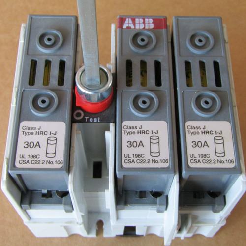 ABB OS 30FAJ12P General Purpose Switch 3P 30A 600VAC J Fuse w/ Handle Shift - Used