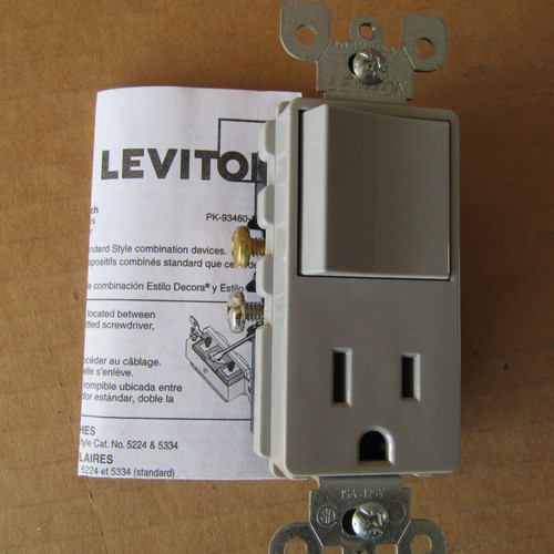 Leviton 5625-GY Combo Rocker Switch & Receptacle 15A 120V  Gray - New