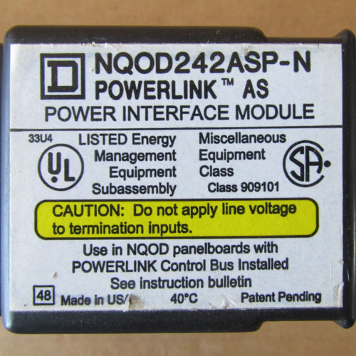 Square D NQOD242ASP-N Powerline AS Power Interface Module 240V - Used