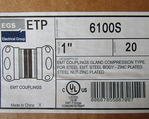 """EGS Electrical 6100S 1"""" EMT Couplings Gland Compression Type Box of 20 - New"""