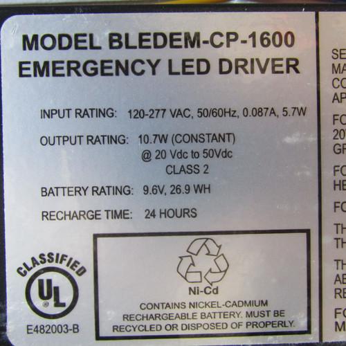 Trace Lite BLEDEM-CP-1600 10.7W Emergency LED Driver 120-277VAC- New