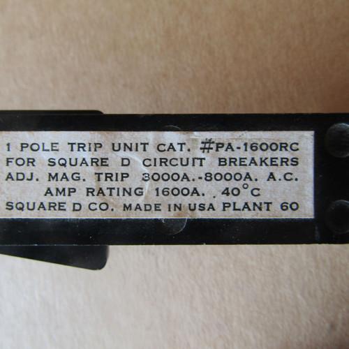 Square D PA-1600RC 3 Pole, 1600 Amp Circuit Breaker Trip Unit (1 set of 3 Ea)- Used