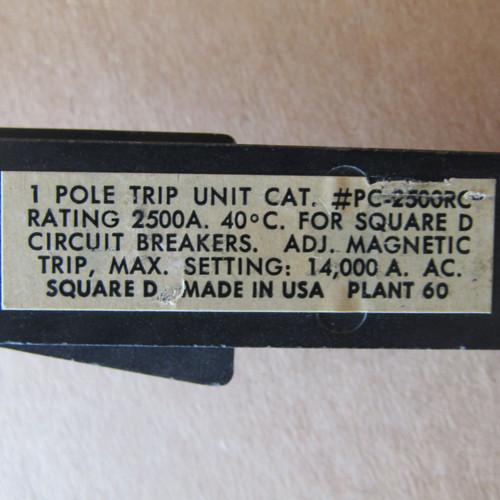 Square D PC-2500RC 3 Pole 2500 Amp Circuit Breaker Trip Unit (1 Set of 3 Ea) - Used