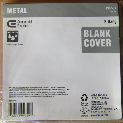 2 Pc Commercial Electric 436-569 Metal 2-Gang Blank Cover w/ Gasket Gray - New