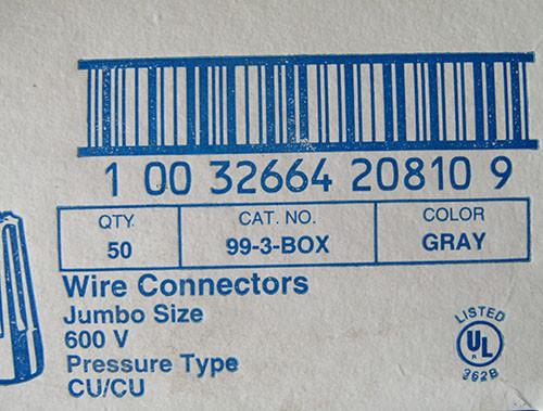 Eaton 99-3-Box Wire Connectors Jumbo Size 600V Gray (50 Ea)  - New