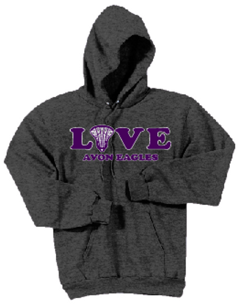 Avon Lacrosse Love Hoodie (adult) Dark Heather Grey