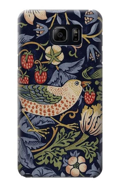 S3791 William Morris Strawberry Thief Fabric Case For Samsung Galaxy S6 Edge Plus