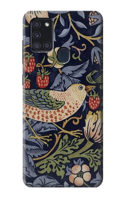 S3791 William Morris Strawberry Thief Fabric Case For Samsung Galaxy A21s
