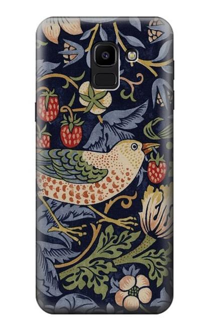 S3791 William Morris Strawberry Thief Fabric Case For Samsung Galaxy J6 (2018)
