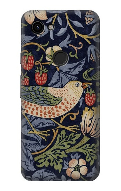 S3791 William Morris Strawberry Thief Fabric Case For Google Pixel 3a