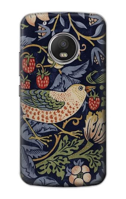 S3791 William Morris Strawberry Thief Fabric Case For Motorola Moto G5 Plus