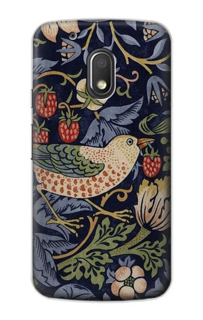 S3791 William Morris Strawberry Thief Fabric Case For Motorola Moto G4 Play