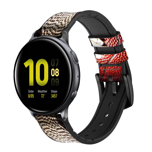 CA0003 American Football Leather & Silicone Smart Watch Band Strap For Samsung Galaxy Watch, Gear, Active