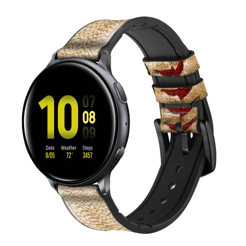 CA0005 Baseball Leather & Silicone Smart Watch Band Strap For Samsung Galaxy Watch, Gear, Active