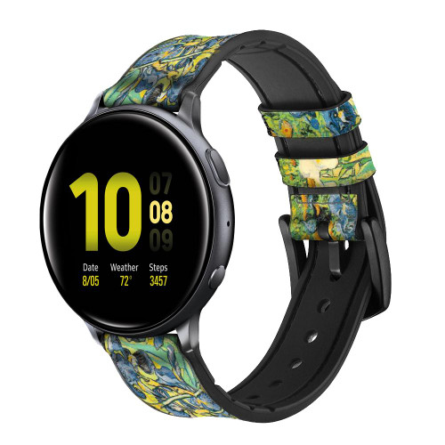 CA0019 Van Gogh Irises Leather & Silicone Smart Watch Band Strap For Samsung Galaxy Watch, Gear, Active