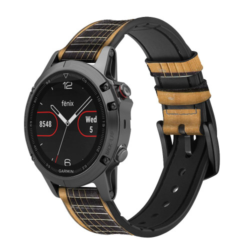 CA0001 Acoustic Guitar Leather & Silicone Smart Watch Band Strap For Garmin Smartwatch