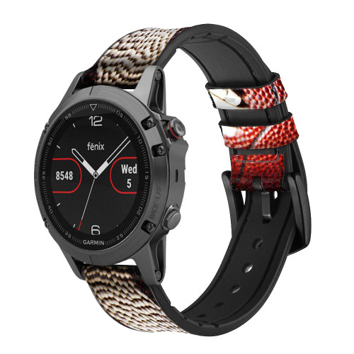 CA0003 American Football Leather & Silicone Smart Watch Band Strap For Garmin Smartwatch