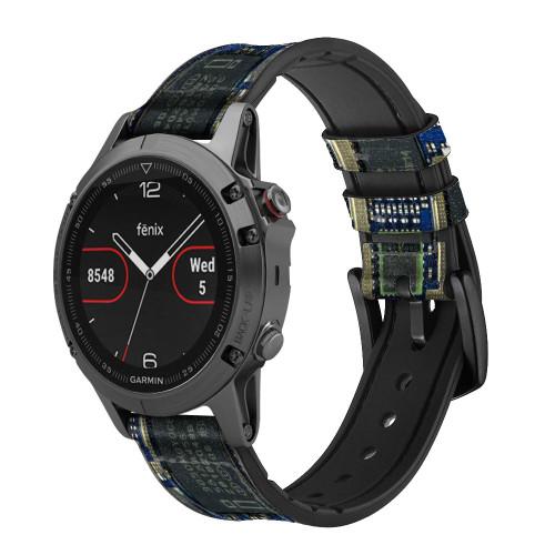 CA0004 Curcuid Board Leather & Silicone Smart Watch Band Strap For Garmin Smartwatch
