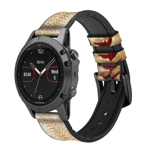 CA0005 Baseball Leather & Silicone Smart Watch Band Strap For Garmin Smartwatch