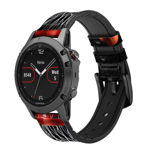 CA0007 Basketball Leather & Silicone Smart Watch Band Strap For Garmin Smartwatch