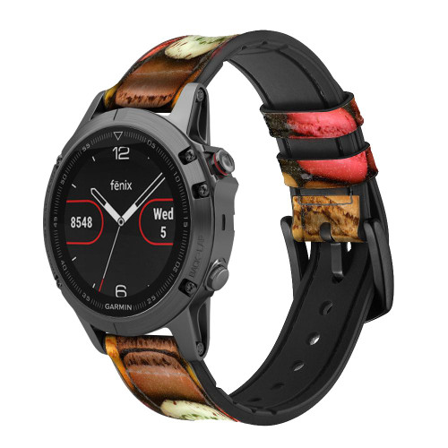 CA0009 Macarons Leather & Silicone Smart Watch Band Strap For Garmin Smartwatch