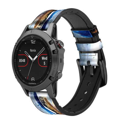 CA0010 Turtle in the Rain Leather & Silicone Smart Watch Band Strap For Garmin Smartwatch