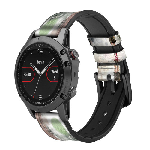 CA0013 Girl in The Rain Leather & Silicone Smart Watch Band Strap For Garmin Smartwatch