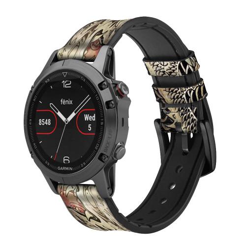CA0014 Yakuza Tattoo Leather & Silicone Smart Watch Band Strap For Garmin Smartwatch