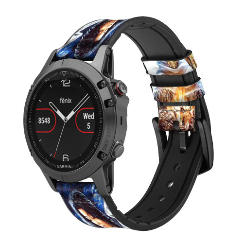 CA0015 Grim Wolf Indian Girl Leather & Silicone Smart Watch Band Strap For Garmin Smartwatch