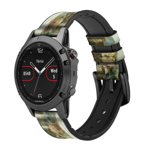 CA0016 Leonardo DaVinci The Last Supper Leather & Silicone Smart Watch Band Strap For Garmin Smartwatch