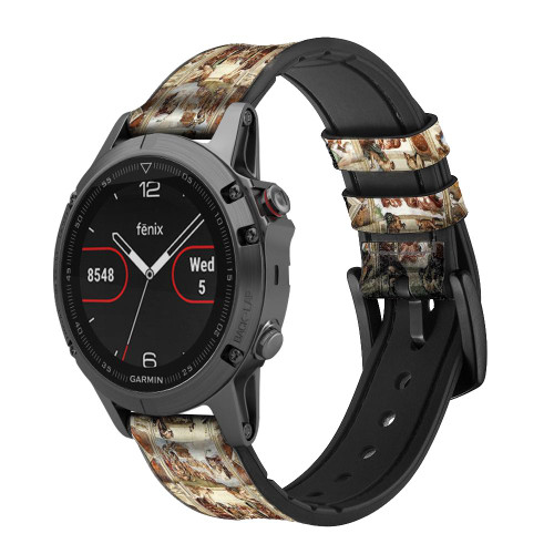 CA0017 Michelangelo Chapel ceiling Leather & Silicone Smart Watch Band Strap For Garmin Smartwatch