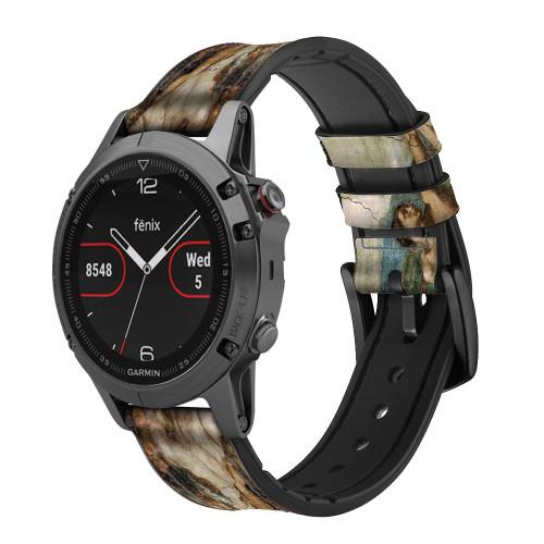 CA0018 Michelangelo Creation of Adam Leather & Silicone Smart Watch Band Strap For Garmin Smartwatch