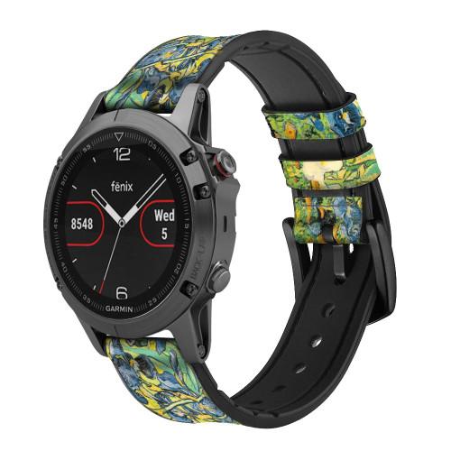 CA0019 Van Gogh Irises Leather & Silicone Smart Watch Band Strap For Garmin Smartwatch