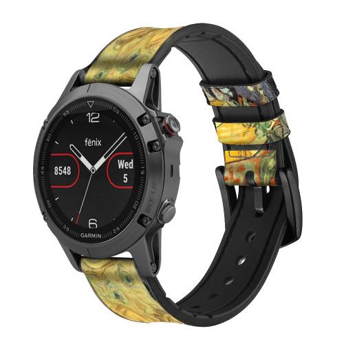 CA0020 Van Gogh Portrait of Dr. Gachet Leather & Silicone Smart Watch Band Strap For Garmin Smartwatch
