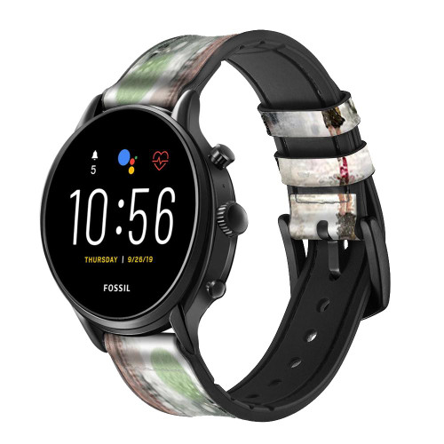 CA0013 Girl in The Rain Leather & Silicone Smart Watch Band Strap For Fossil Smartwatch