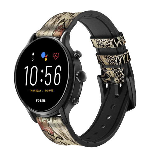CA0014 Yakuza Tattoo Leather & Silicone Smart Watch Band Strap For Fossil Smartwatch