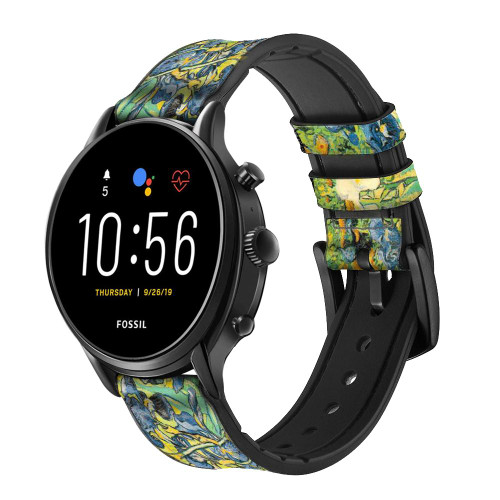 CA0019 Van Gogh Irises Leather & Silicone Smart Watch Band Strap For Fossil Smartwatch
