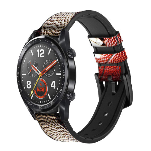 CA0003 American Football Leather & Silicone Smart Watch Band Strap For Wristwatch Smartwatch