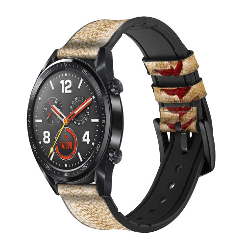 CA0005 Baseball Leather & Silicone Smart Watch Band Strap For Wristwatch Smartwatch