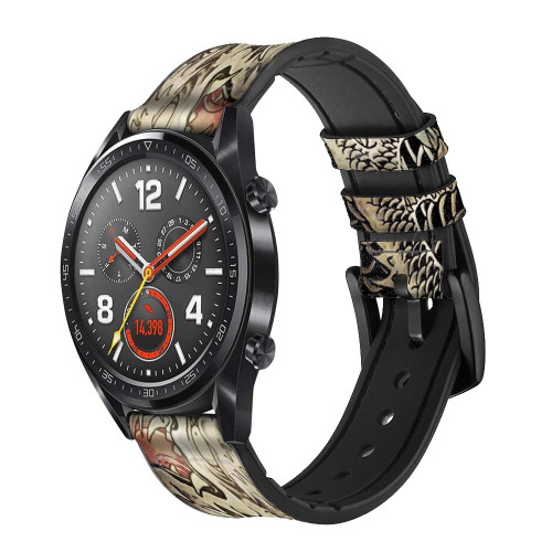 CA0014 Yakuza Tattoo Leather & Silicone Smart Watch Band Strap For Wristwatch Smartwatch