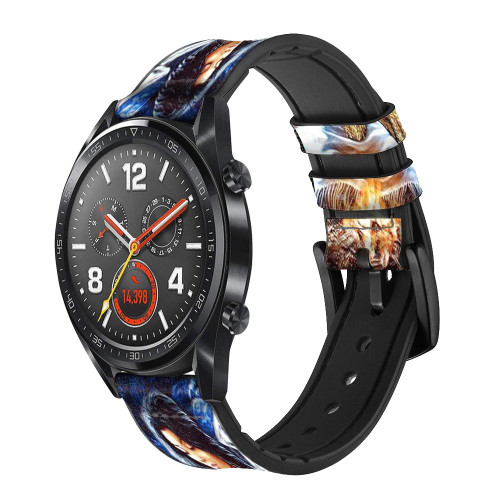 CA0015 Grim Wolf Indian Girl Leather & Silicone Smart Watch Band Strap For Wristwatch Smartwatch