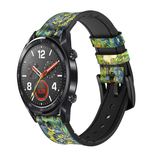 CA0019 Van Gogh Irises Leather & Silicone Smart Watch Band Strap For Wristwatch Smartwatch